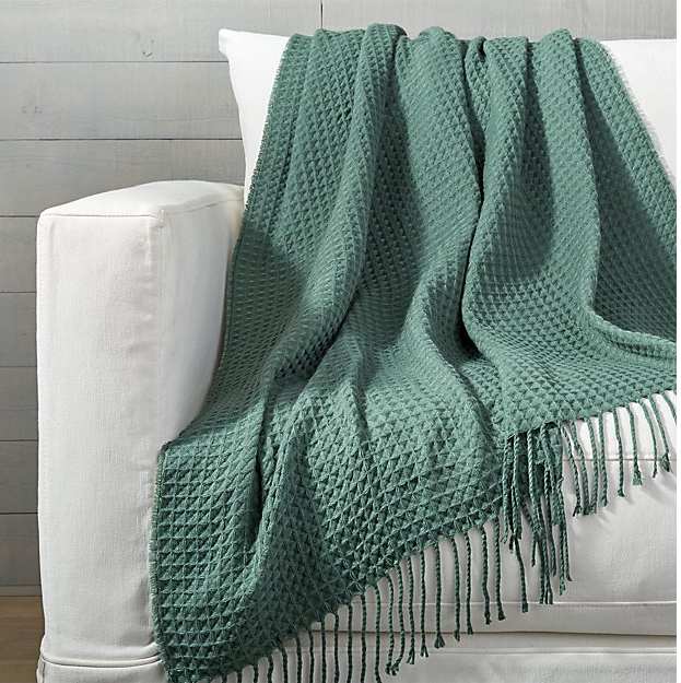 Cecil Teal Waffle Weave Throw