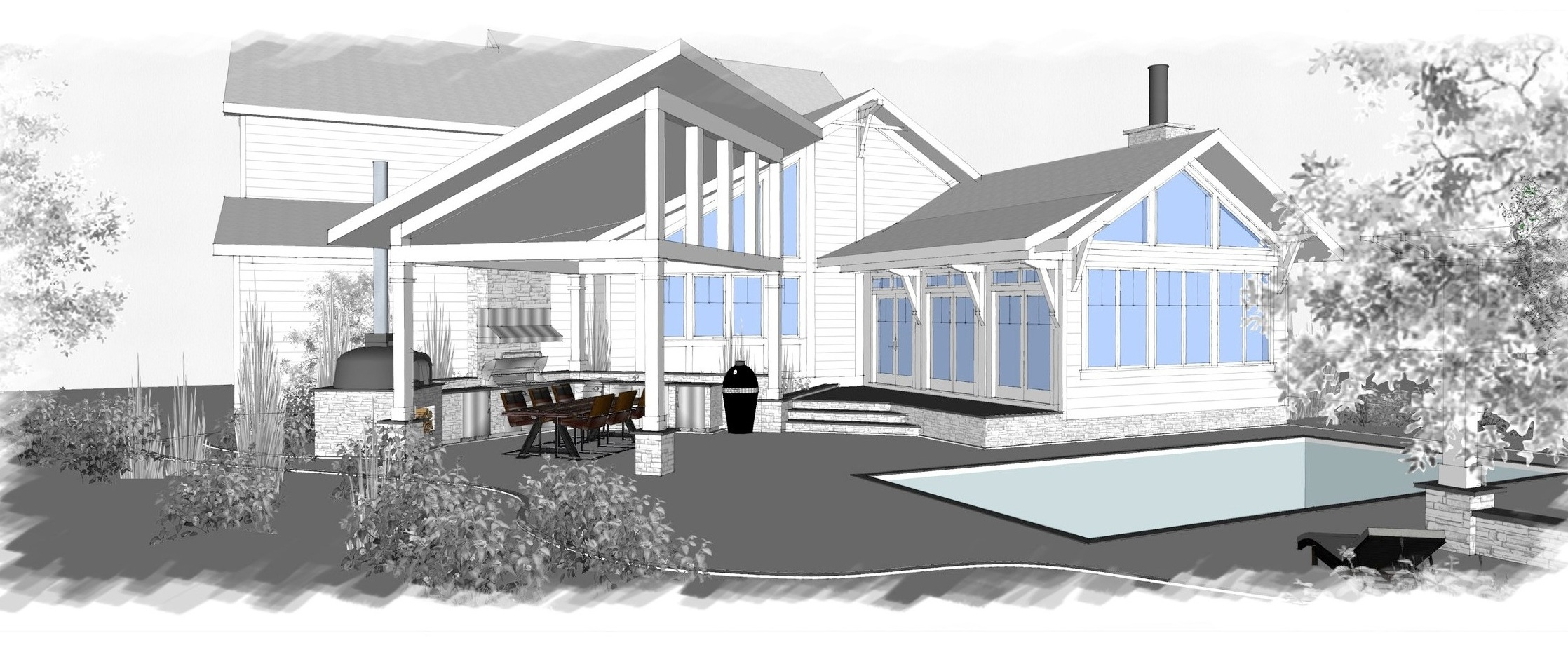 Model View @ Outdoor Kitchen / Modern Living Addition