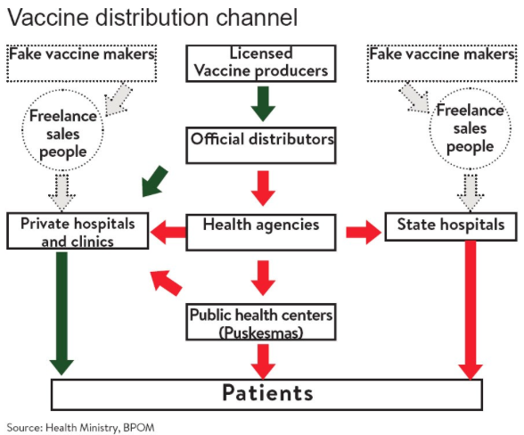 In 2016, a nationwide counterfeit vaccine ring was uncovered in Indonesia. Criminals used multiple tactics to subvert the checks put in place to detect fraud. The end result was a serious violation of trust in vaccines and health authorities.