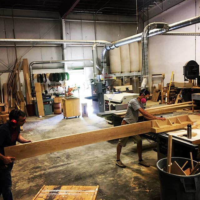 "Teamwork makes the dream work... Kerfing wide 10/4"" white oak to prep for re-sawing on our trusty 36"" Crescent bandsaw. Commercial thickness veneers will not withstand the wire brushed finishes specified by @marcusgleysteenarchitects for our current project, a stylish new seaside residence in Kennebunkport with @bowley_builders... No problem, we make our own, 1/8"" thick finished. . . . . . . #teamworkmakesthedreamwork #finewoodworking #cando #keepcraftalive #interiordesign  #madeinmaine #portlandmaine"