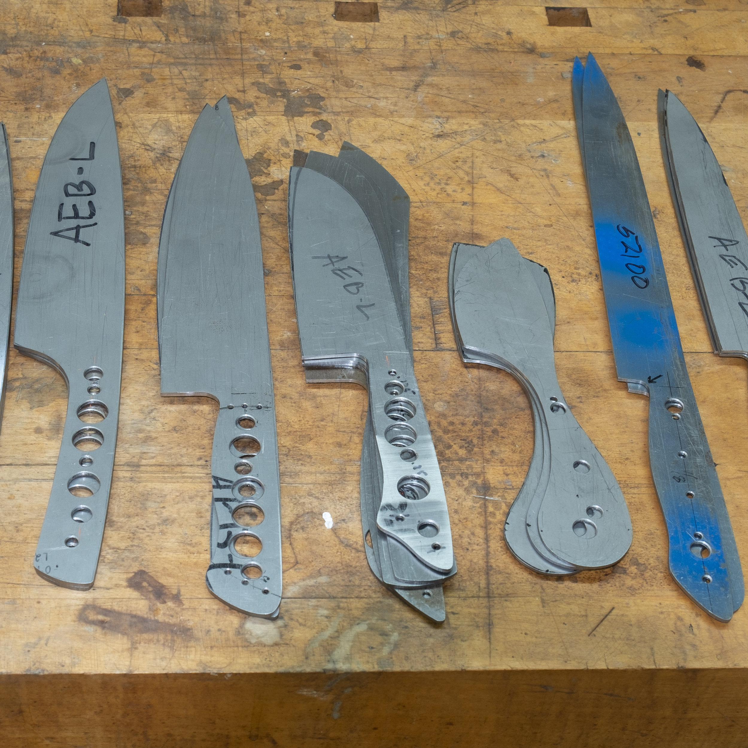 A Selection of knife blanks ready to be sent out for heat treating (hardening).