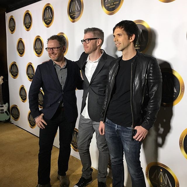 """Walking the """"red"""" carpet at the Hollywood Music In Media Awards with @brianleewhite and @trifonic @hmmawards"""