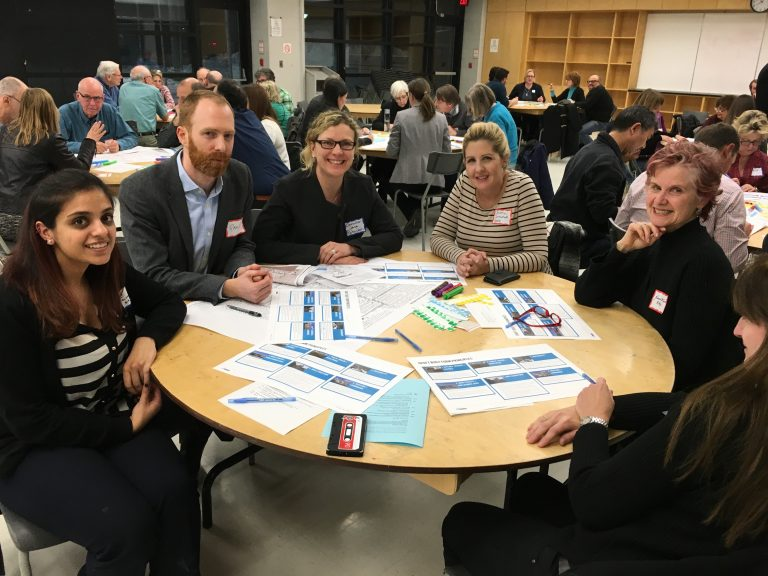Brainstorming with residents, city staff and neighbouring Councillor Christin Carmichael Greb at the latest Midtown Planning Group meeting.