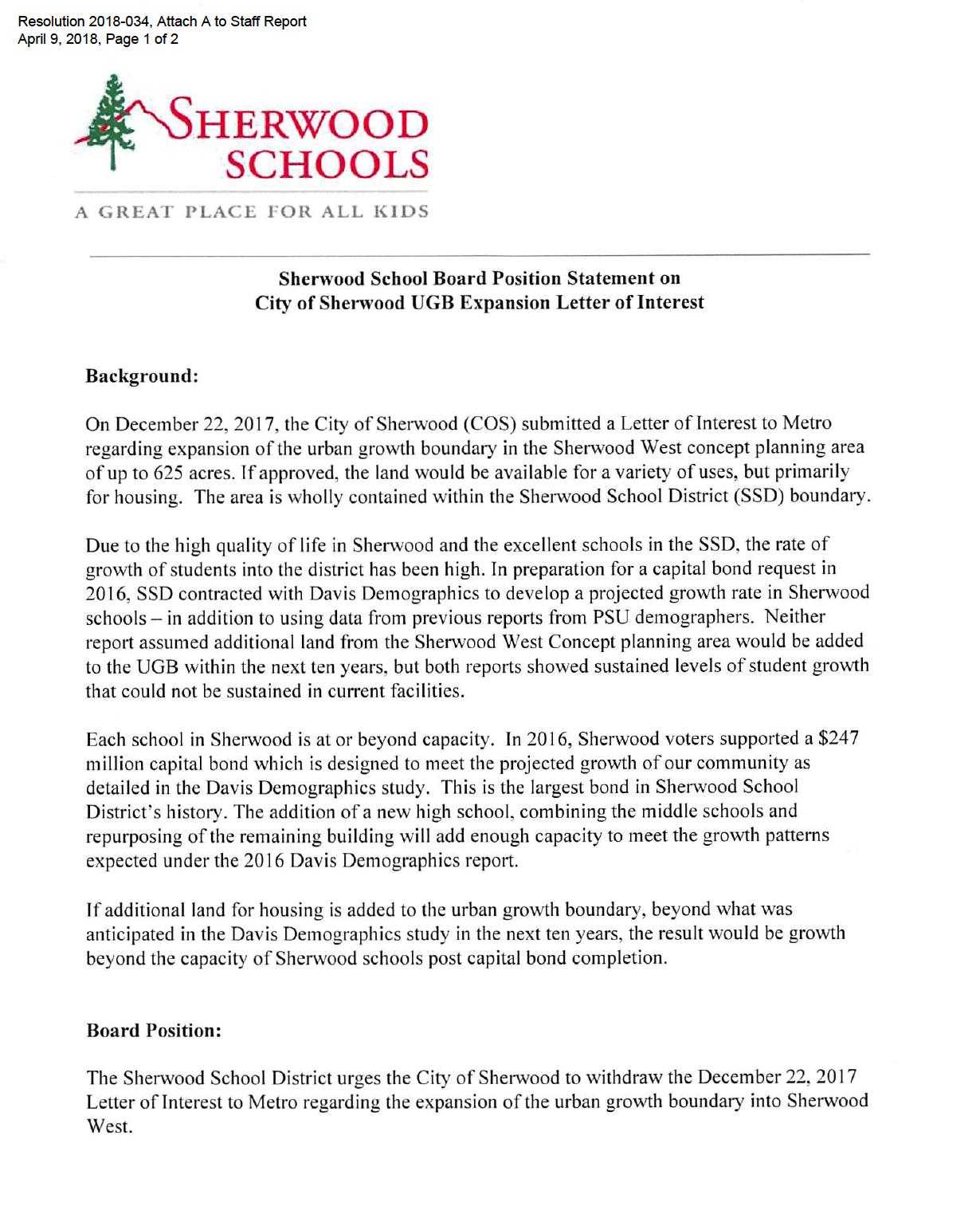 Letter from school baord