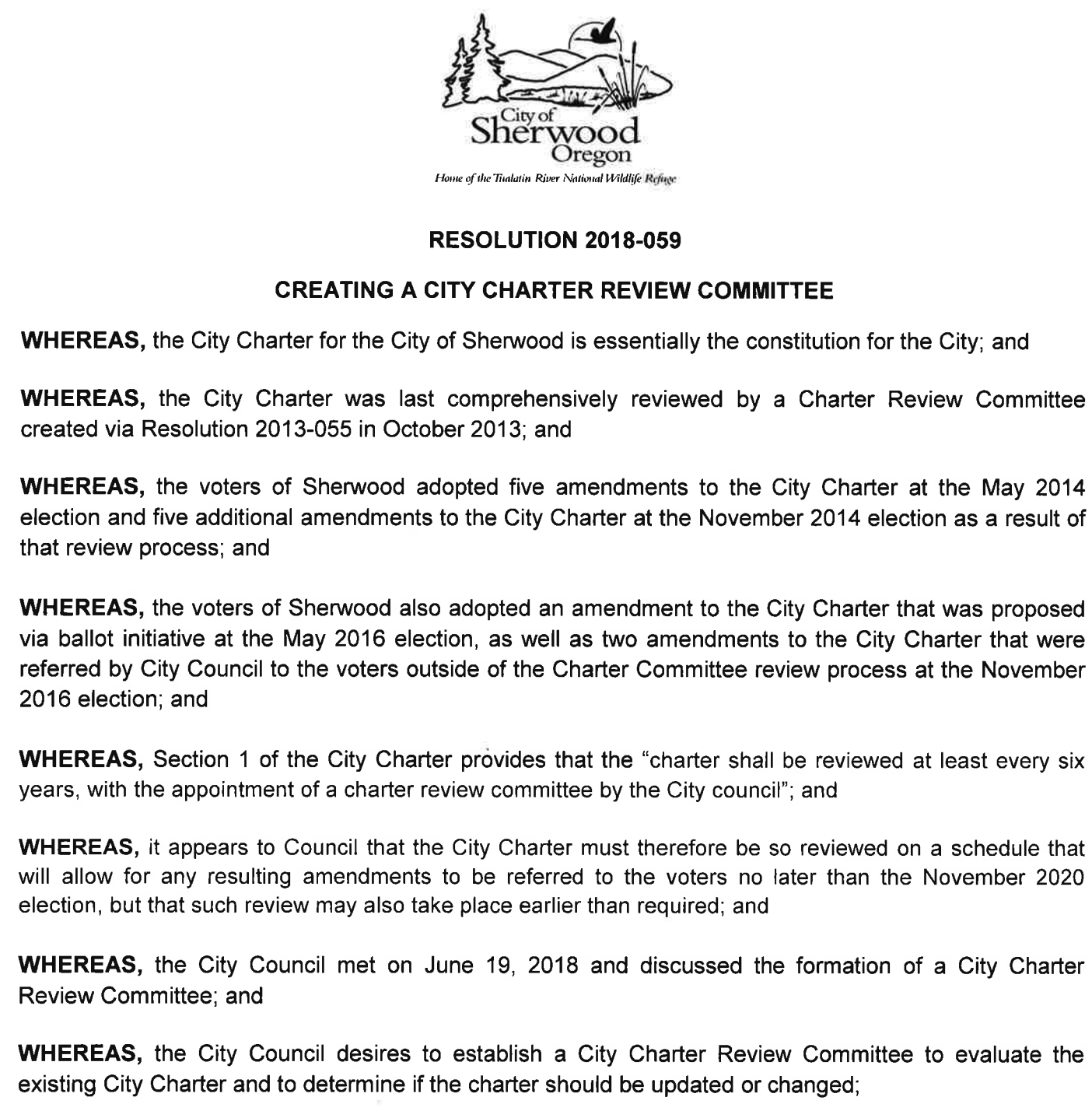 Resolution creating the City Charter Review Committee