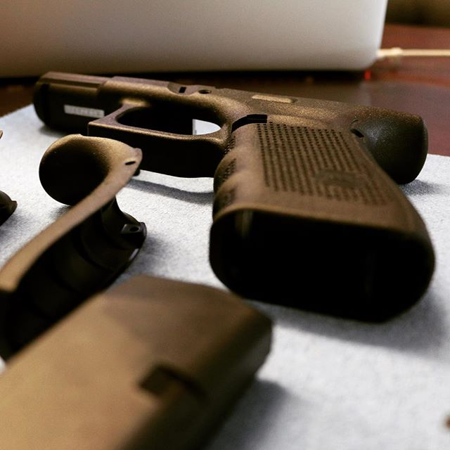 New customer in the shop today for a cerakote, Mr.Glock 19.  Check back to see how Mr.Glock 19 turned out. #cerakote #glock19