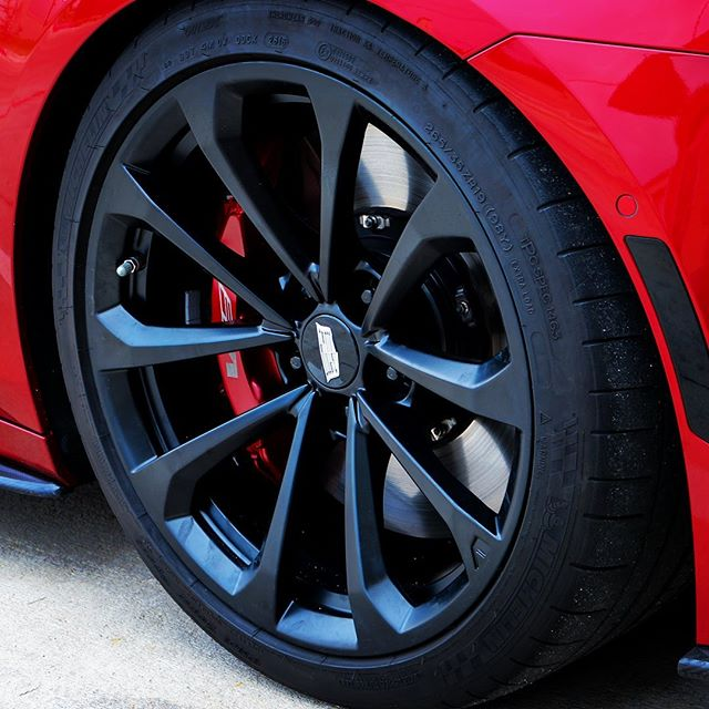 Can a Caddy V-Series look any better? Yes, with powder coated rims. Natch. #powdercoating #rims #vseries #cadillac