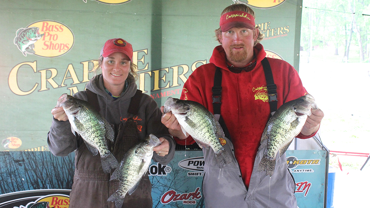 Fifth place went to the two time 2017 Crappie Masters winning team of Paul and Elizabeth Turner, who had another strong showing weighing in a two day weight of 19.76 pounds taking home a $1200.00 check along with a $100.00 Grizzly Jig Company Certificate for finishing as the top Male/Female team of the tournament.