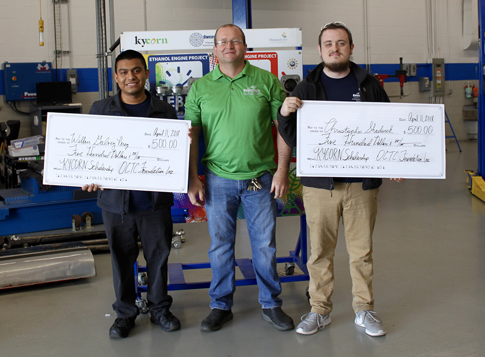 Perez and Shadwick are pictured with OCTC Automotive Technology instructor Fred Wright.