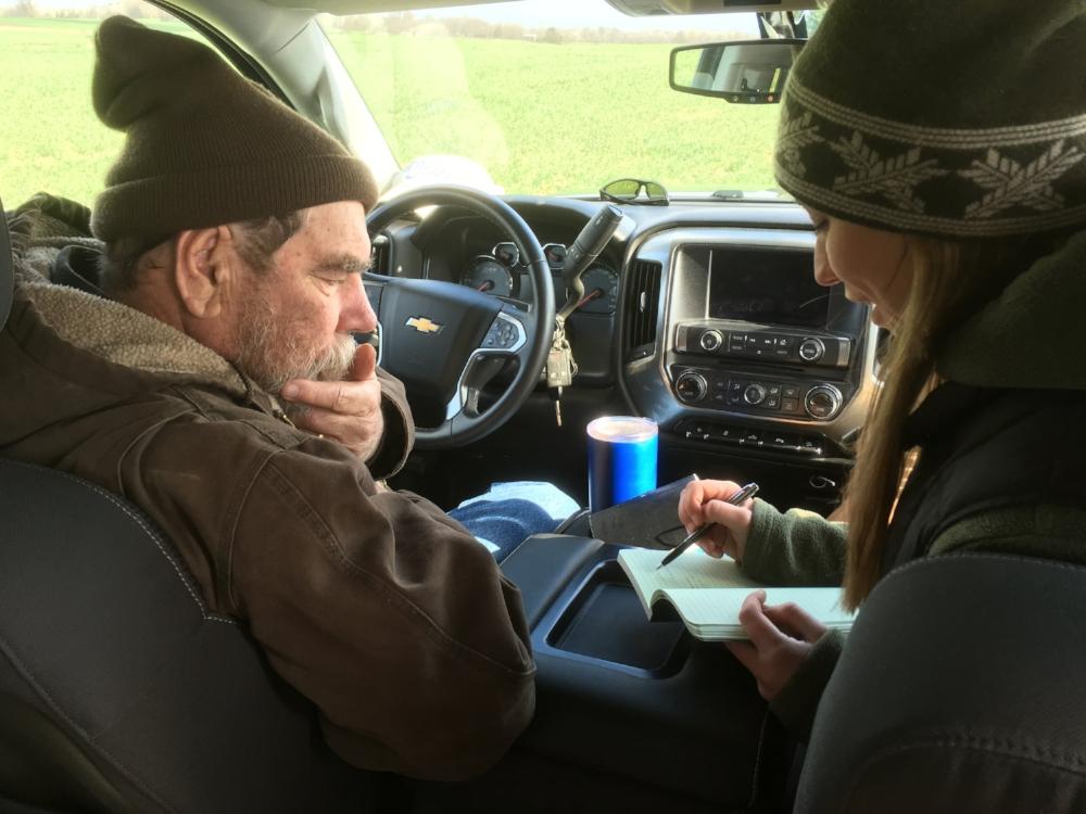Hardin Co. farmer Richard Preston and UK soil scientist Dr. Hanna Poffenbarger discussing ideas for the study.