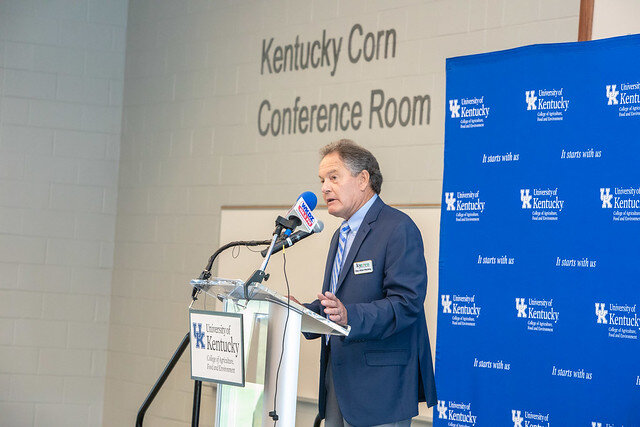 KyCorn Promotion Council Chairman Ray Allan Mackey spoke at the Ribbon Cutting Ceremony.
