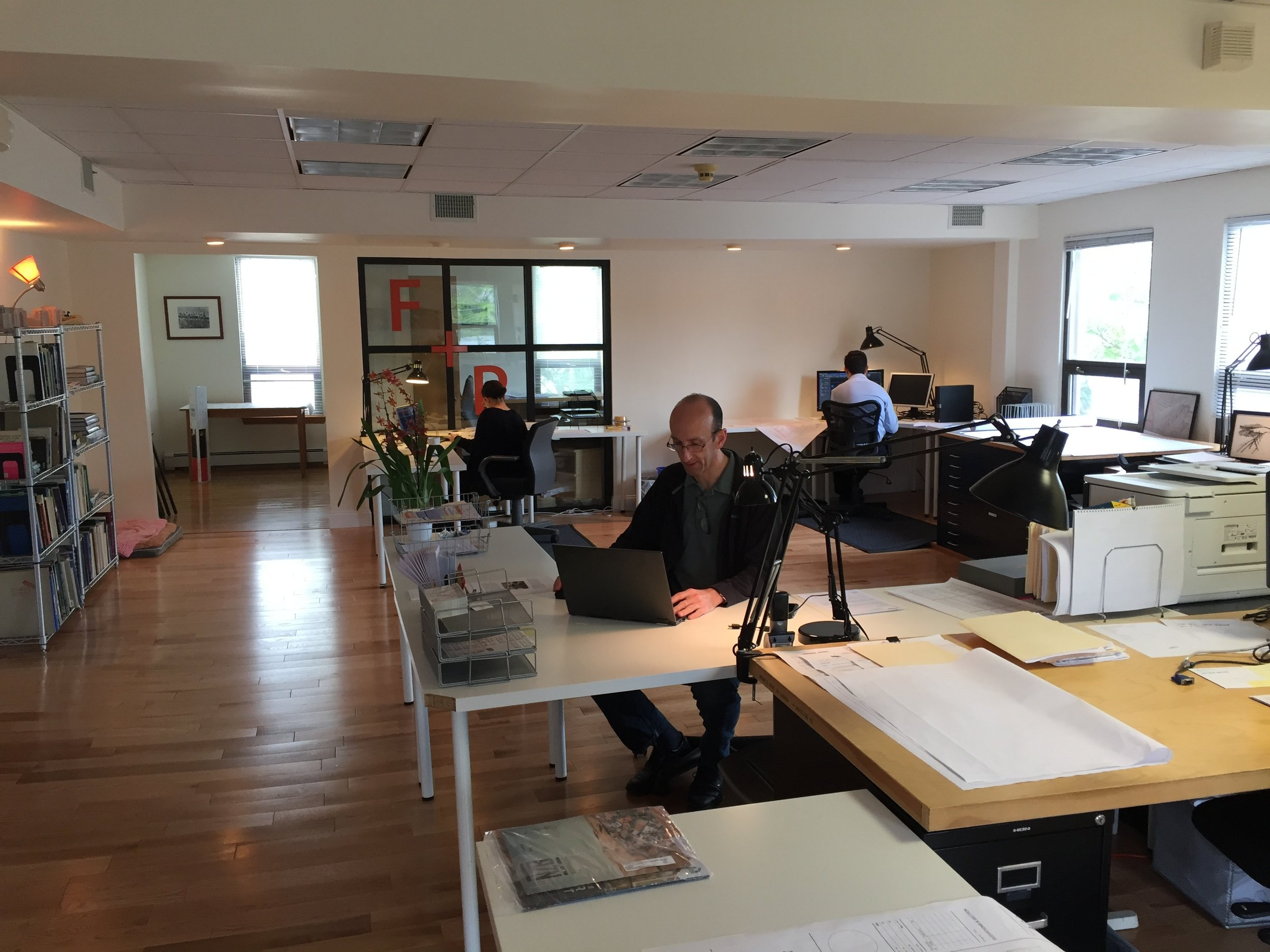 The new open office landscape at Form + Place, an architectural firm in Newton Highlands