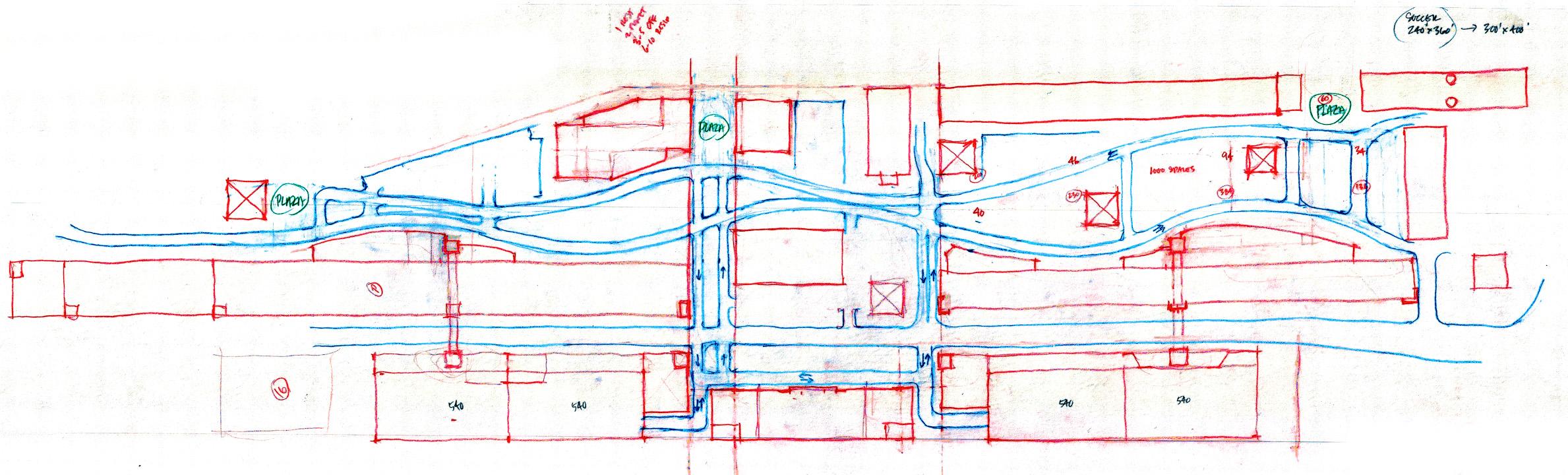 Riverwalk - Site Movement Diagram Transitioning to Site Plan