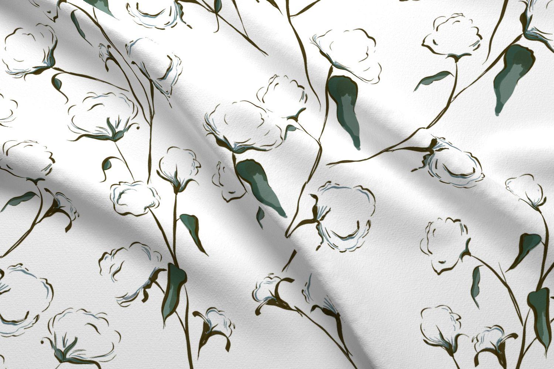 Cotton Bolls Printed Fabric