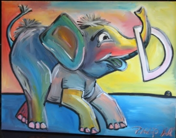 "Baby Elephant playing with the letter D for a little boy named Devin. 24"" x 30"""