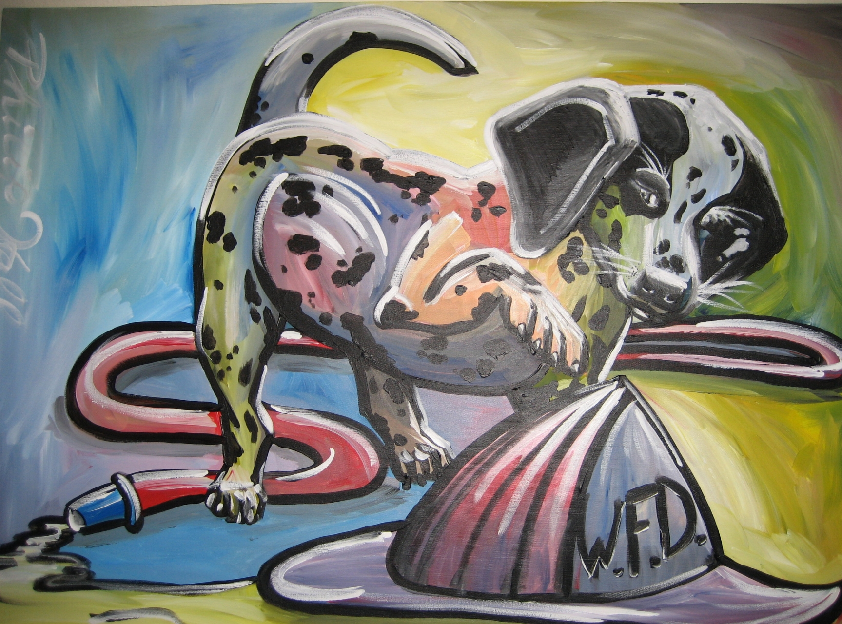 "Dalmatian puppy playing with the firehose for the son of a firefighter. 24"" x 30"""