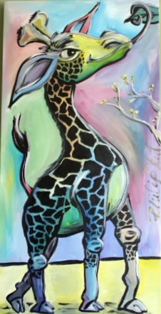 "Hungry baby giraffe with cherry blossoms. 24"" x 48"""