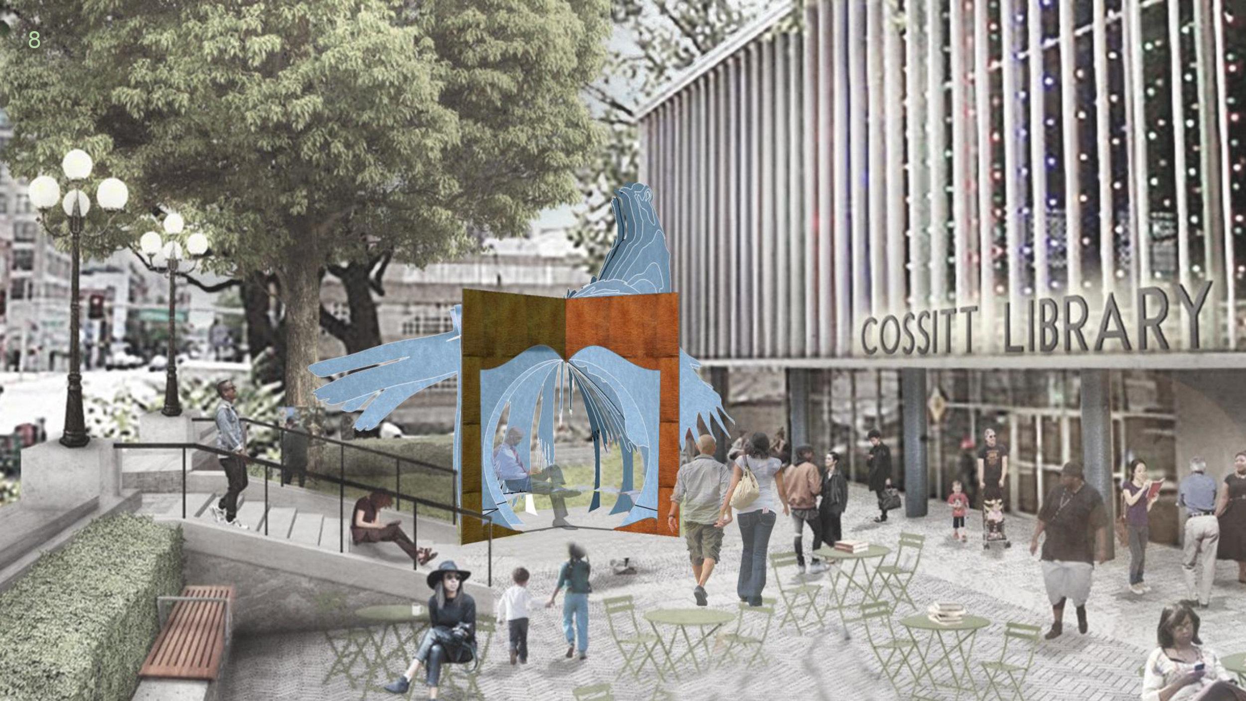 proposed sculpture design for Cossitt Library Sculpture