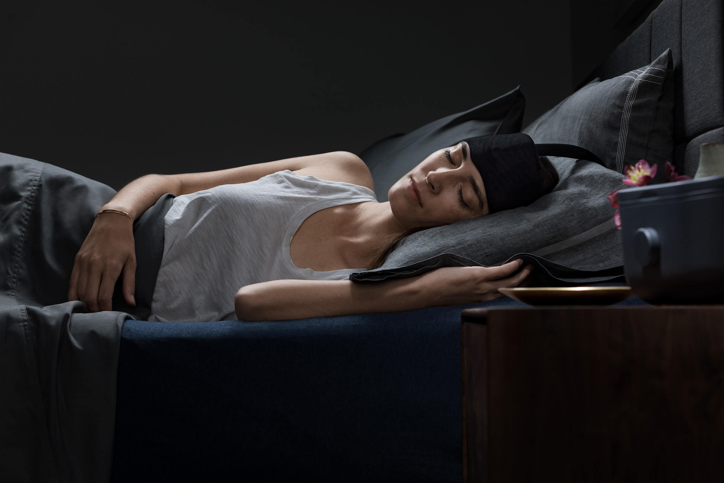 Ebb™ Insomnia Therapy is the first and only FDA-cleared device that reduces the time it takes to both fall asleep and enter deeper, more restorative sleep. Invented by an internationally recognized leader in sleep medicine, Eric Nofzinger, MD, Ebb works with the body to gently cool and calm the overactive mind.