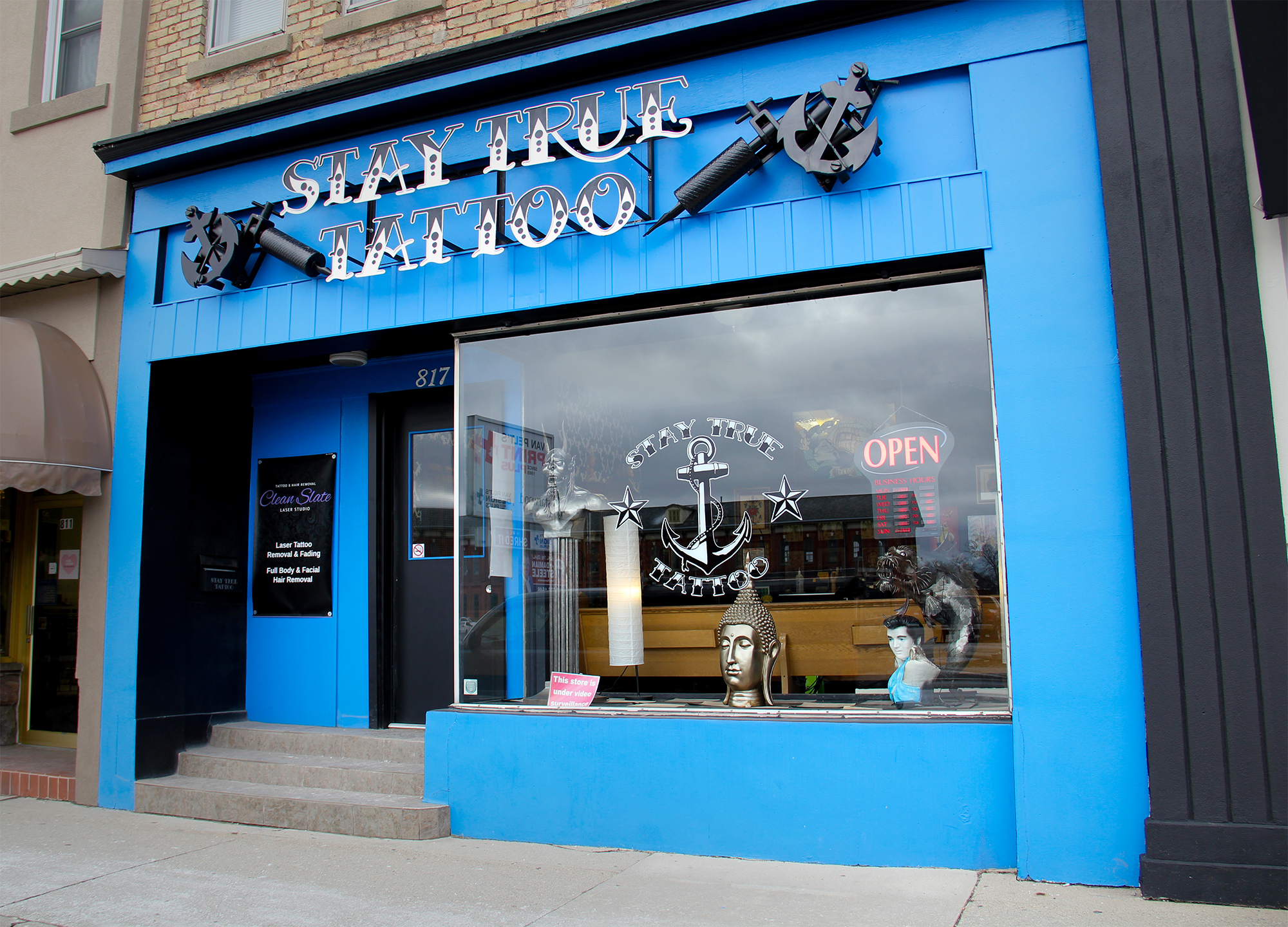 Our location: - Proudly located inside Stay True Tattoo, in the heart of St. Thomas, ON, our modern and elegant studio is equipped to handle a wide range of laser removal services in a clean, comfortable setting.