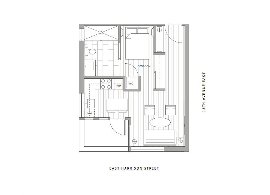 Unit 1A - Studio, 1 Bath, 394 sf $499,900
