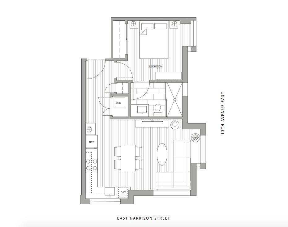 Unit 1B - 1 Bedroom, 1 Bath, 512 sf $569,900
