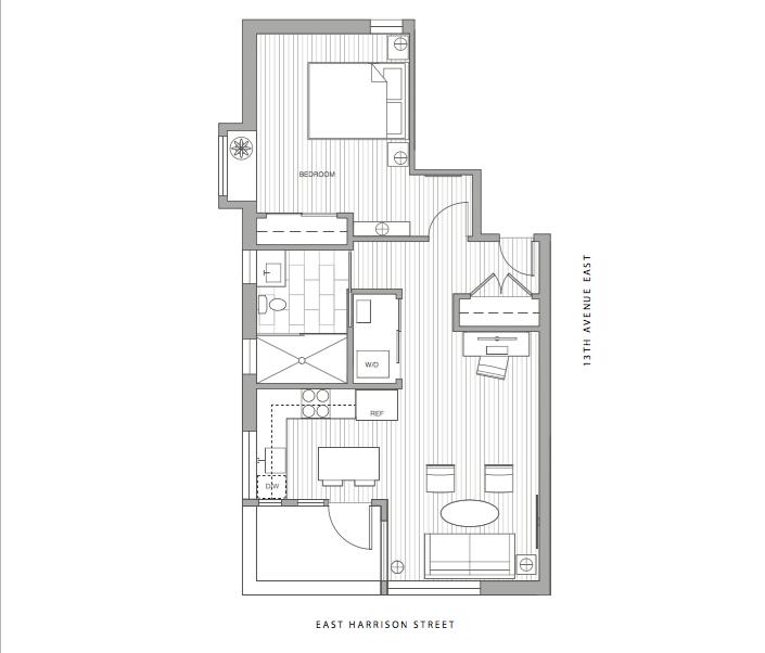 Unit 2A- 1 Bedroom, 1 Bath, 555 sf $599,900