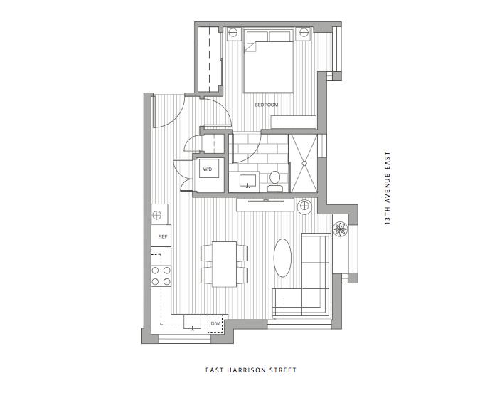 Unit 2B - 1 Bedroom, 1 Bath, 518 sf $589,900