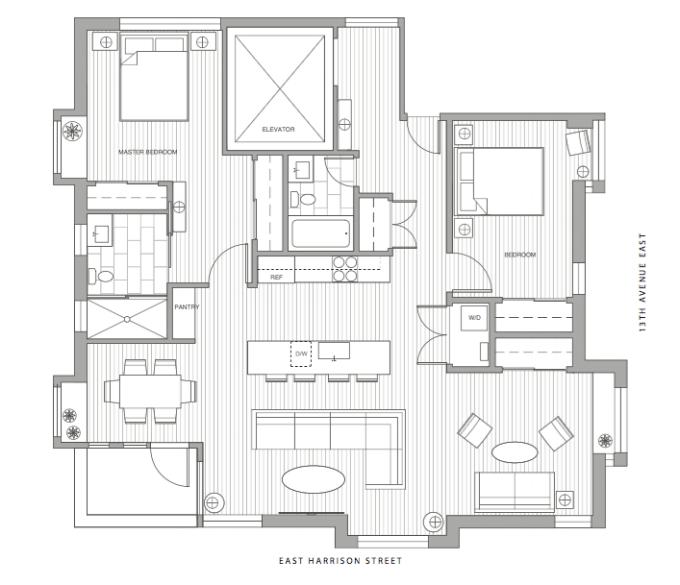 Unit 3 - 2 Bedroom, 2 Bath, 1199 sf $1,379,900