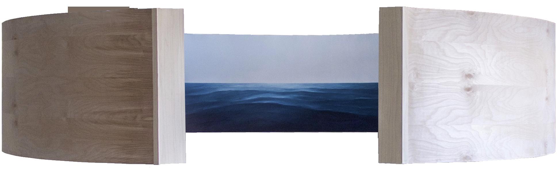 Adrift   oil on shaped panel  2'x7' (3)  2017