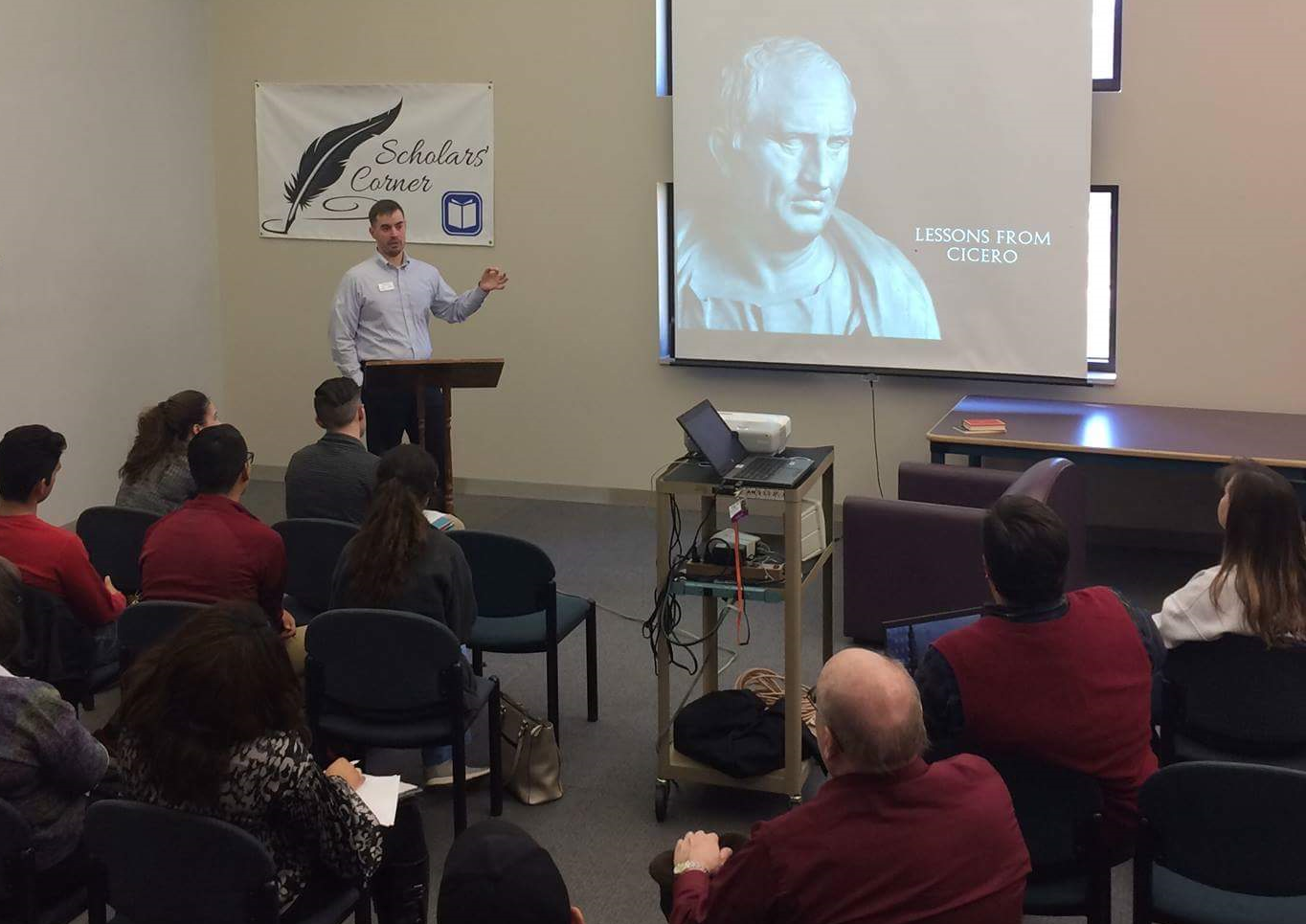 Lecturing on the life and virtues of cicero at the greenville tech library, spring 2017.