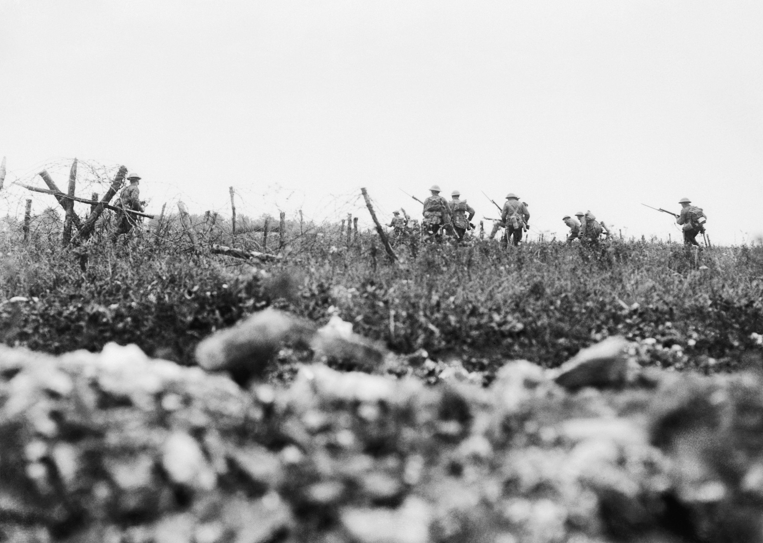 Soldiers of the Wiltshire Regiment attack across no-man's-land at the Somme, August 1916.