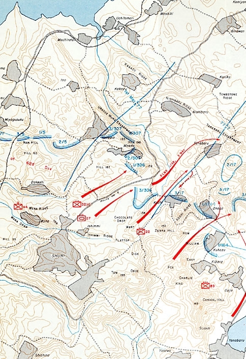 The Maeda Escarpment is visible running northwest to southeast across the top of this map, north of Shuri. Each topographical relief line represents ten meters of elevation.