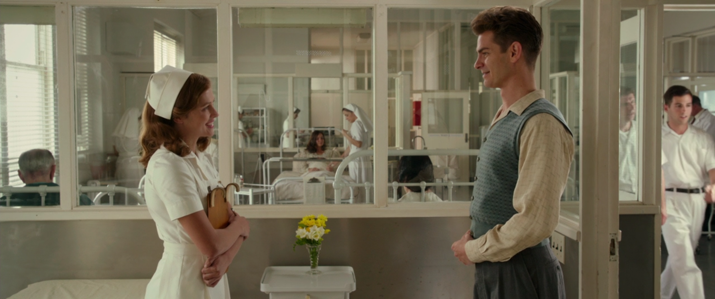 Andrew Garfield as Desmond Doss and Theresa Palmer as Dorothy Schutte in  Hacksaw Ridge