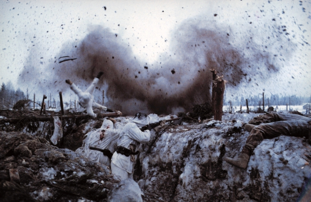 Finnish troops under Soviet assault near Taipale in  The Winter War .
