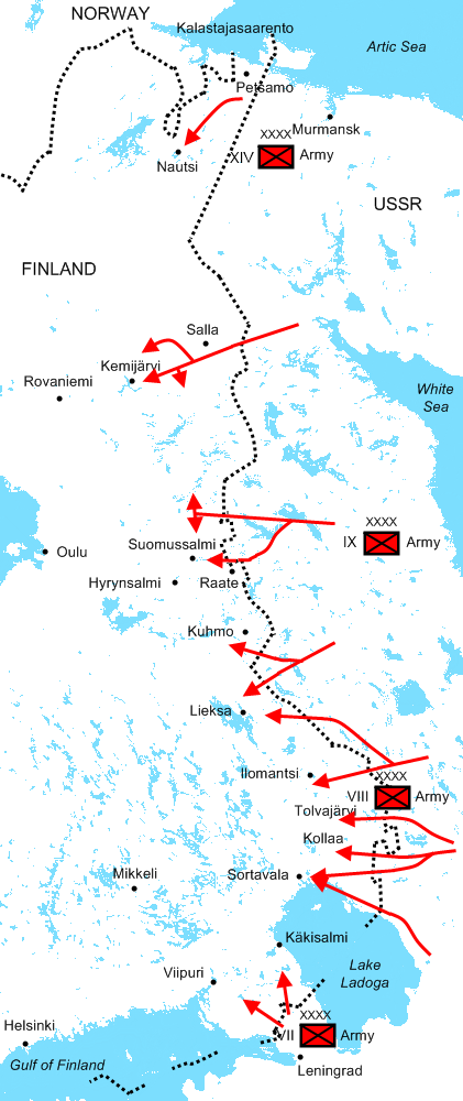 The Soviet attacks on Finland, from Wikimedia Commons