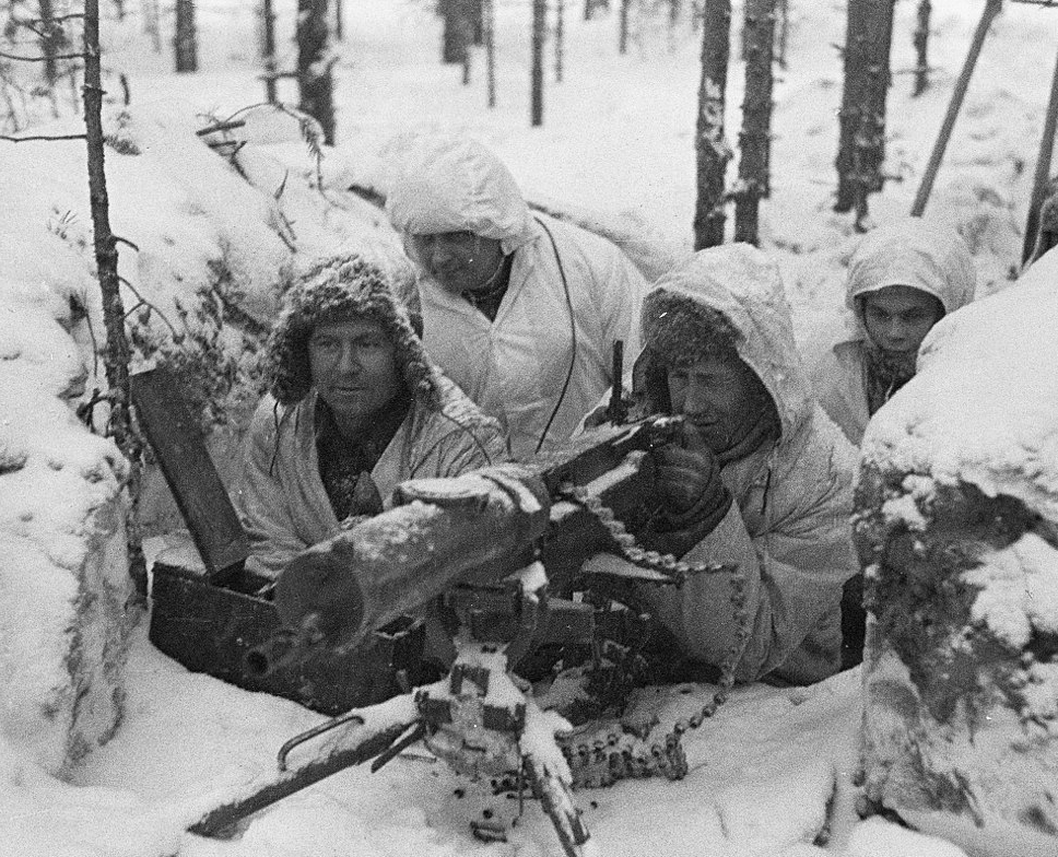 A Finnish machine gun crew entrenched in the frozen woods during the Winter War