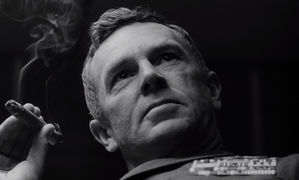 Sterling Hayden as General Jack D. Ripper in  Dr. Strangelove, or: How I Learned to Stop Worrying and Love the Bomb