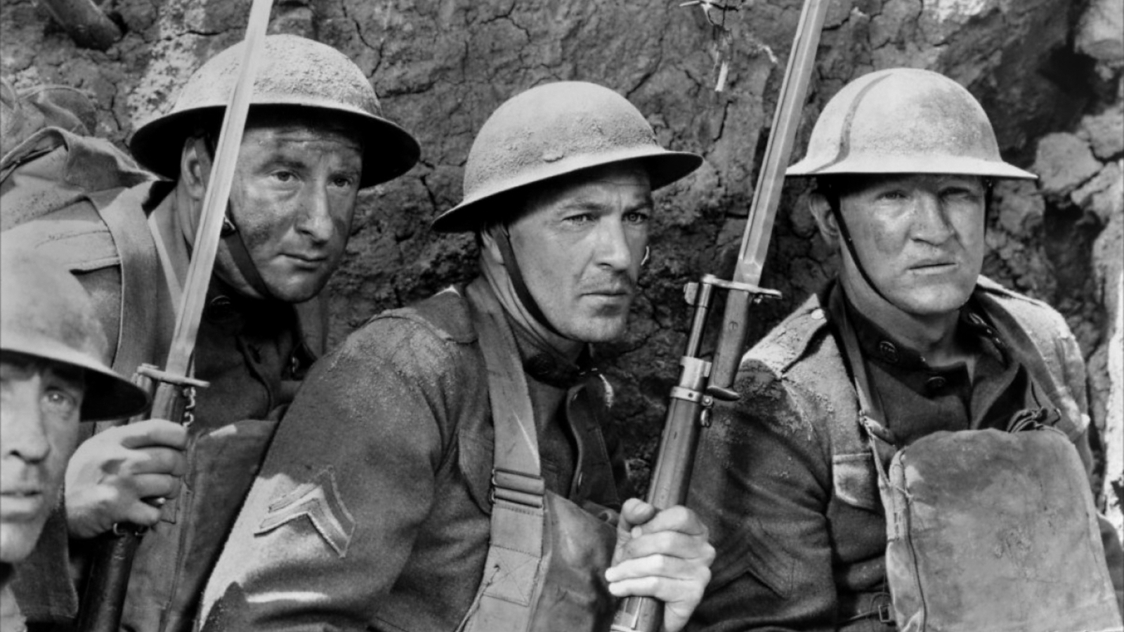 "George Tobias as ""Pusher"" Ross, Gary Cooper as Cpl. Alvin York, and Joseph Sawyer as Sgt. Early in  Sergeant York , directed by Howard Hawks"