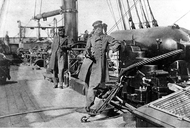 CAPTAIN Raphael Semmes and his executive officer, John McIntosh Kell, aboard the CSS  Alabama  in Capetown, South Africa, August 1863