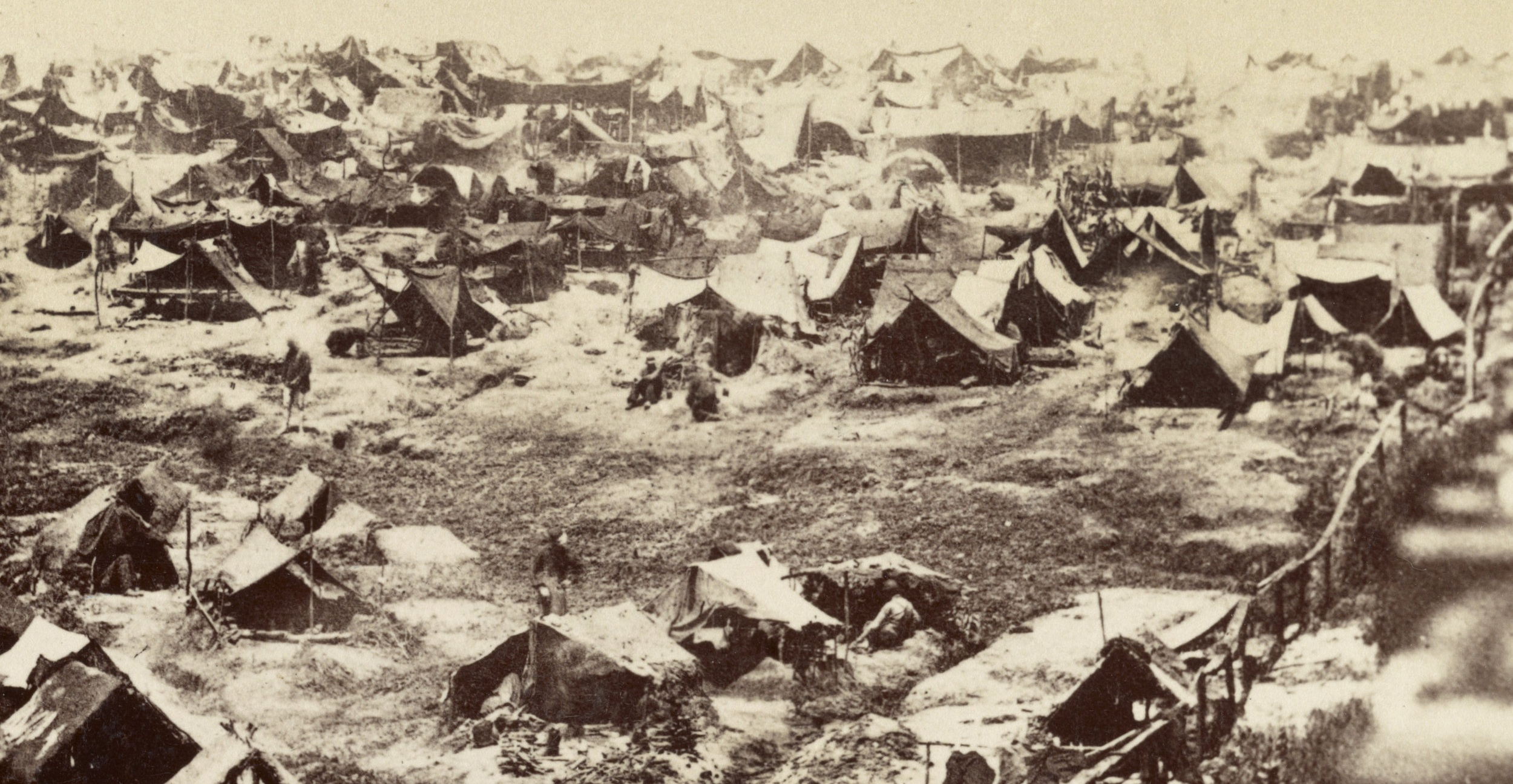 The real Andersonville,  photographed  from the stockade wall in mid-August 1864.