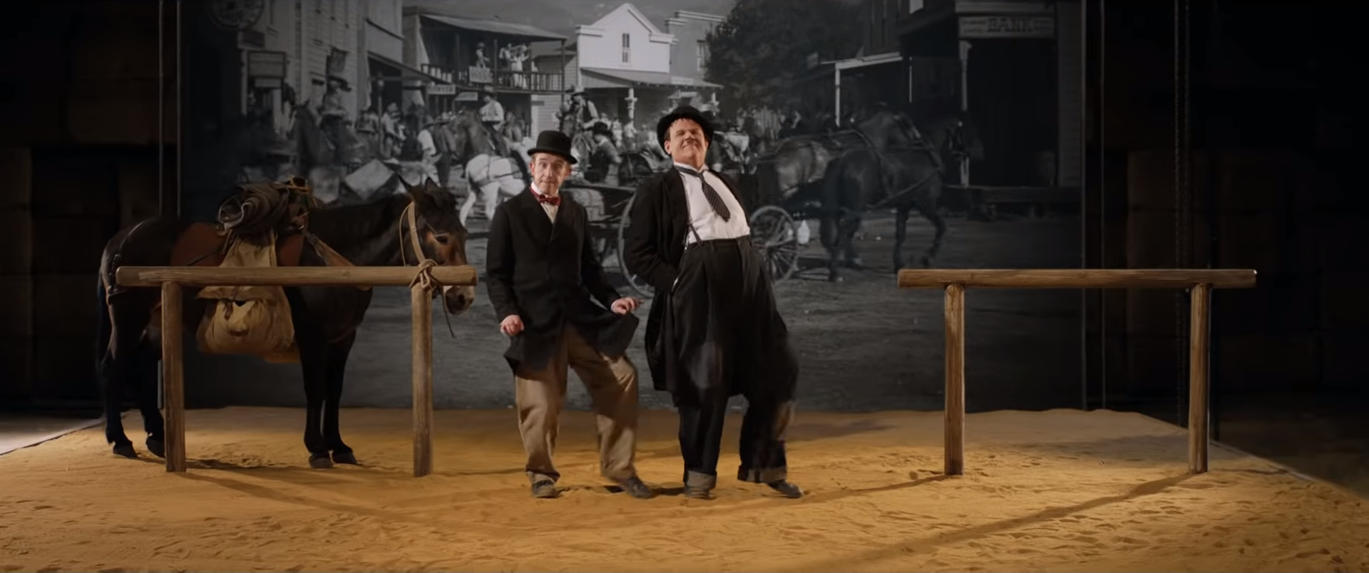 Stan Laurel (Steve Coogan) and Oliver Hardy (John C. Reilly) making  Way Out West  in 1937