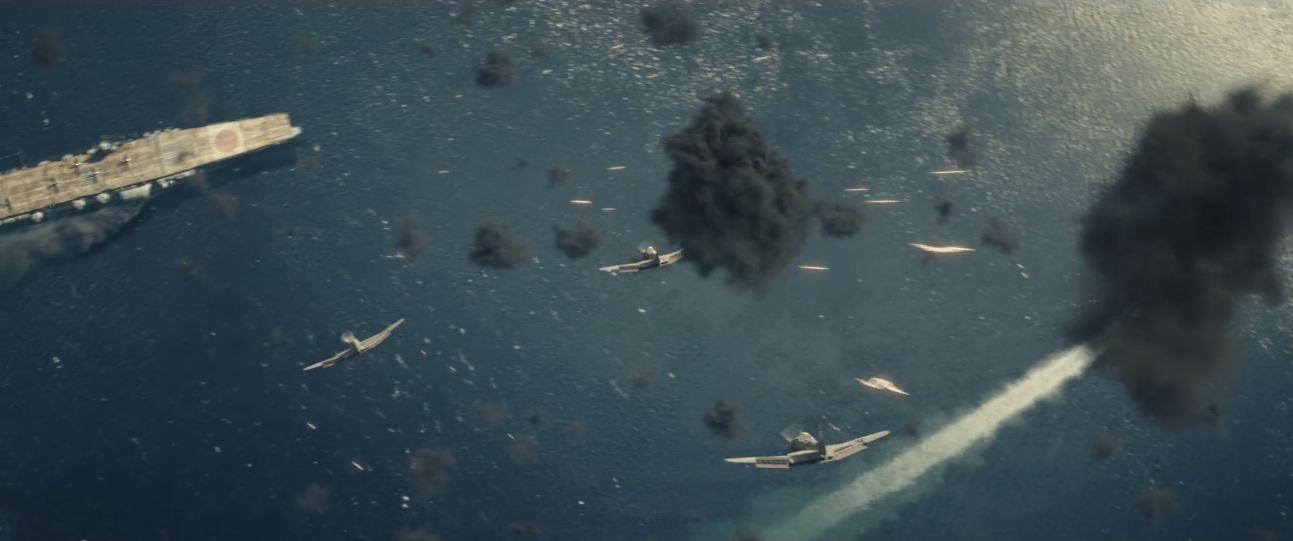 Dick Best's squadron of SBD Dauntless bombers dives toward the Japanese carriers in Roland Emmerich's  Midway