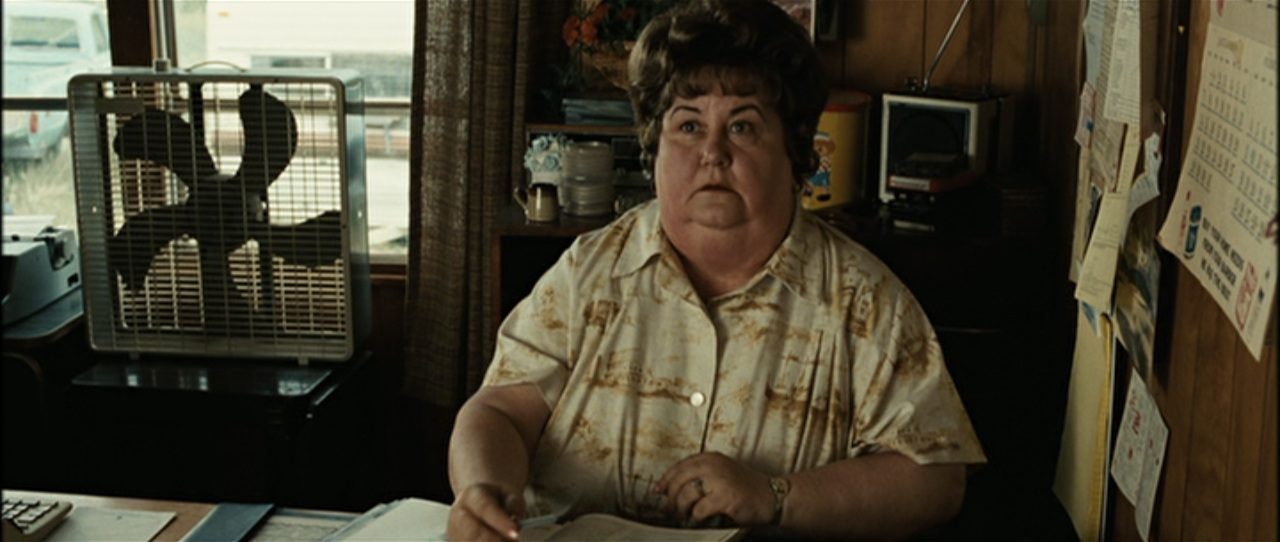 "Kathy Lamkin as ""Desert Aire Manager"" in the Coen brothers' adaptation of  No Country for Old Men"