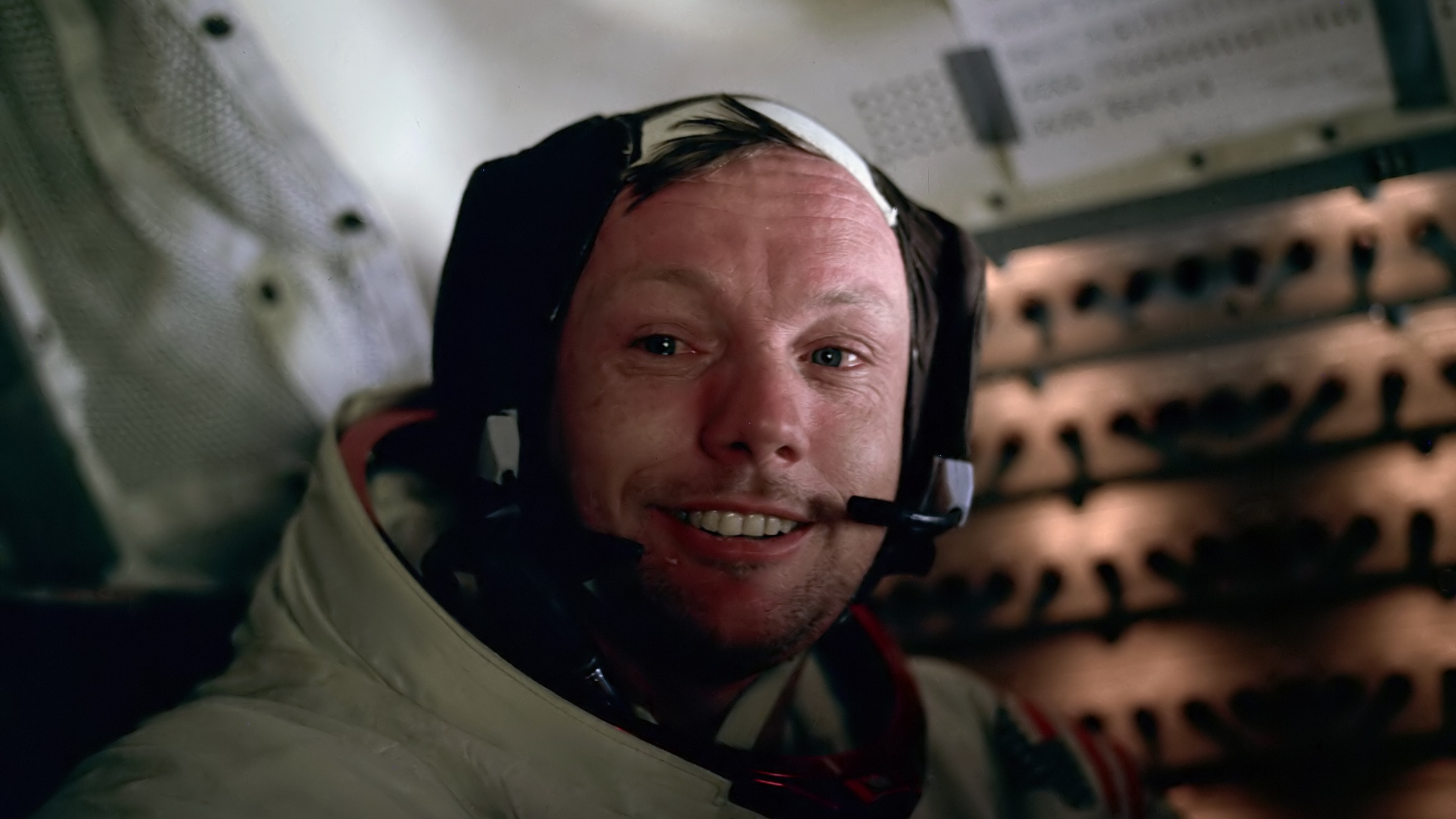 Neil Armstrong (1930-2012) aboard the lunar module after his first walk on the moon.