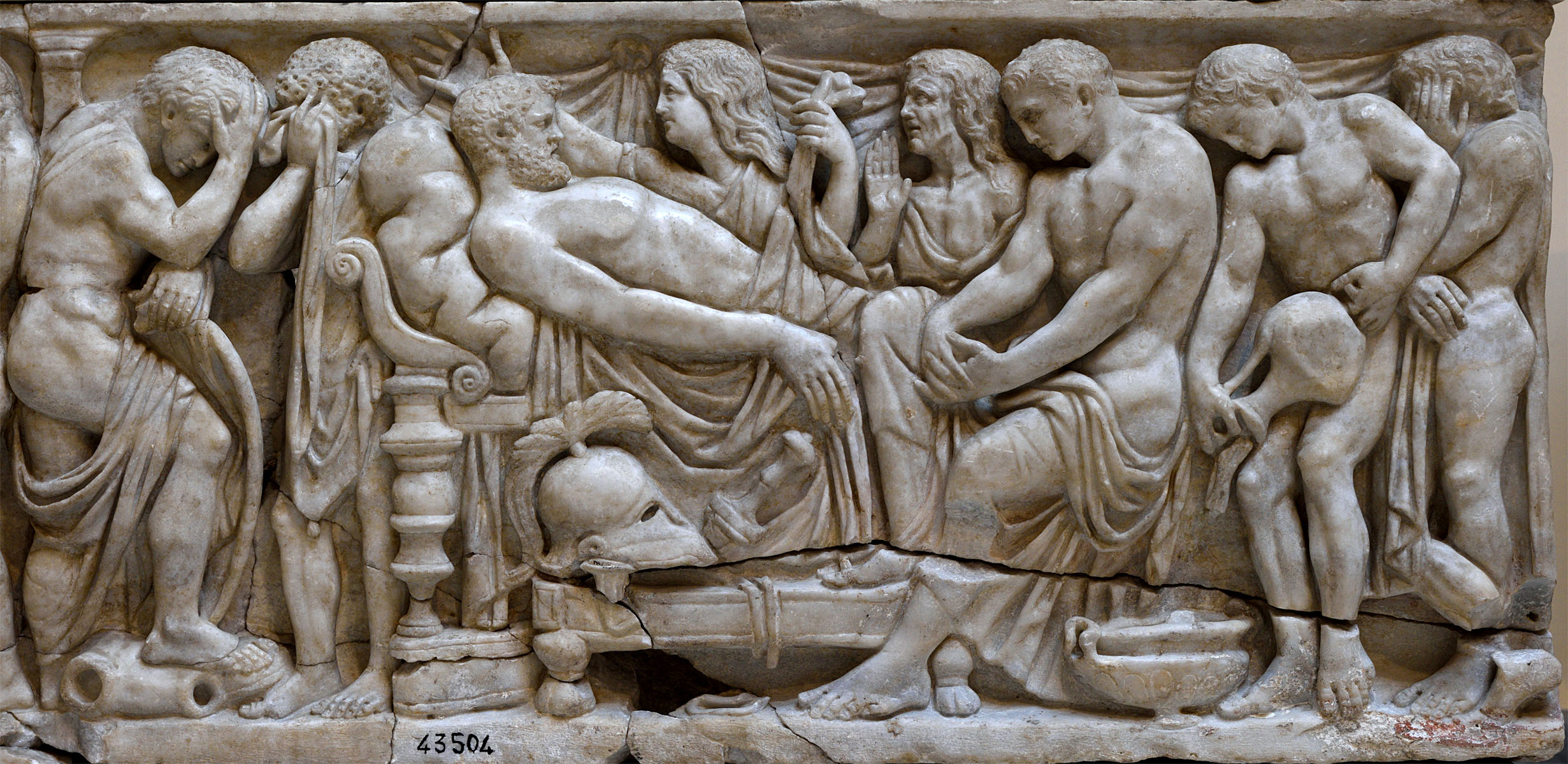 Achilles mourns Patroclus, from a second century a.d. greek sarcophagus