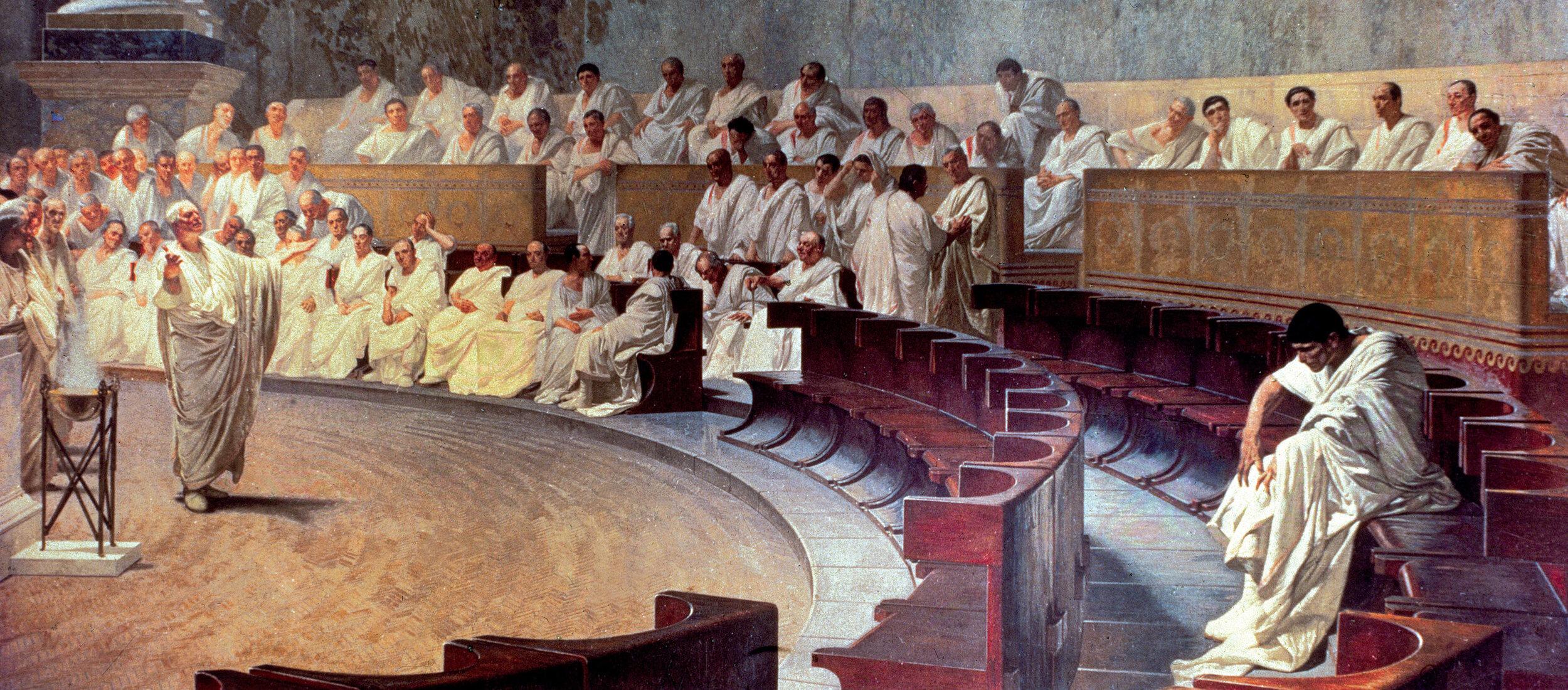Detail from  Cicero Denounces Catiline , by Cesare Maccari, 1888