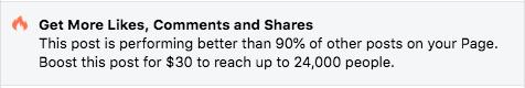 Facebook Ads Boost Notification