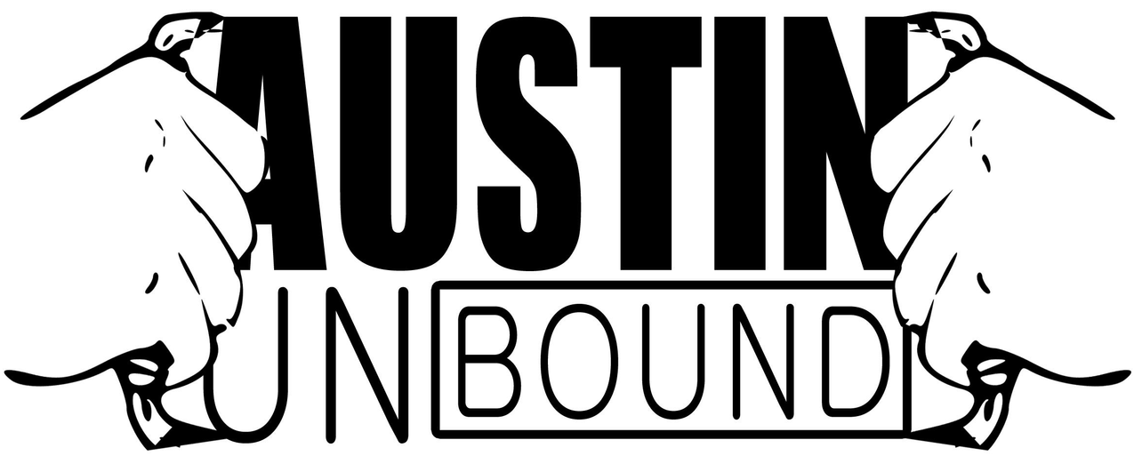 logo - two hands opening at chest over Austin Unbound logo as if pulling open superman outfit