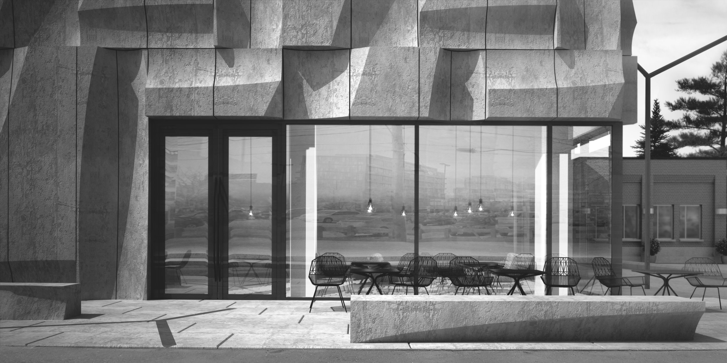 View of main floor cafe with concrete bench